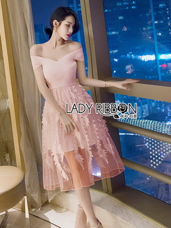🎀 Lady Ribbon's Made 🎀 Lady Judy Off-Shoulder Twist Spandex and Embroidered Tulle Dress