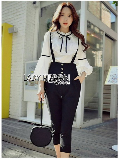 Blouse with Black Lady Ribbon Jumpsuit