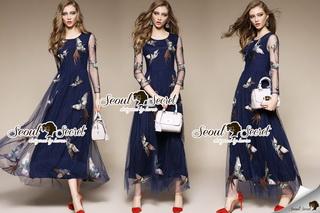 SS03010916 Seoul Secret Say's... Netty Bird Stickly Maxi Dress Material : เนื้อผ้า Net เนื้อนุ่ม สวยหรูด้วยทรงแม๊กซี่ตัวยาว