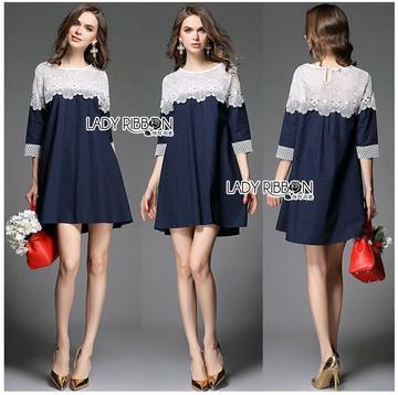 Lady Ribbon Online เสื้อผ้าออนไลน์ ขายส่งของแท้ราคาถููก LR14110716 &#x1F380 Lady Ribbon's Made &#x1F380 Lady Selena Feminine Minimal White Lace and Cotton Dress