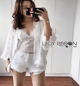 Lady Ribbon Jeanne Sweet Bohemian Embroidered Fringed White Tunic