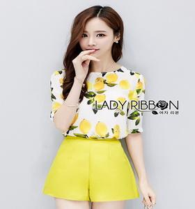 Lady Ribbon Yellow Lemon Printed