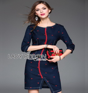 Denim Mini Dress Lady Ribbon มินิเดรสผ้าเดนิม