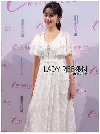 Lady Lace-Down White Lace Dress