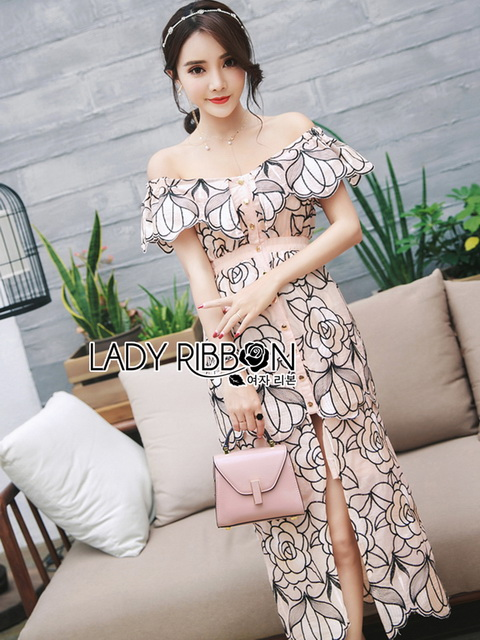 Lady Ribbon Flower Embroidered Dress ขายเดรสทอลาย