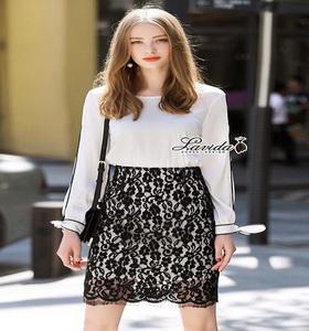 เสื้อสีขาว+กระโปรงผ้าลูกไม้สีดำ
