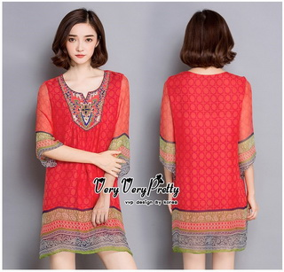 Lady Ribbon Online ขายส่งเสื้อผ้าออนไลน์ Very very pretty VP05030816 Bohemian Red-Chiffon Colorful beads Embroidery Blouse
