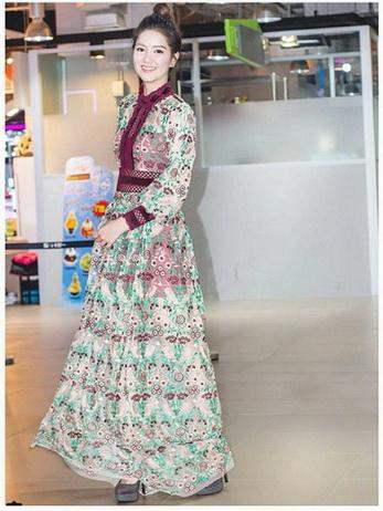Lady Fancy Colourful Lace Maxi Dress
