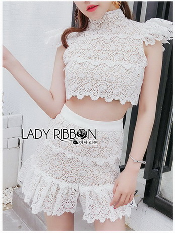 Lady Alessia White lace Cropped Top and Ruffle