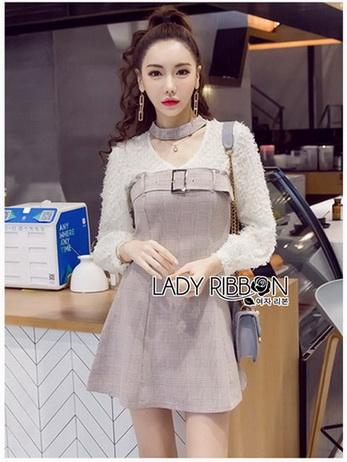 Mini Dress มินิเดรสผ้าลายสก็อตและผ้าชีฟองสีขาว