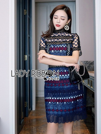 Lady Poppy Vivid Blue and Burgundy Lace Dress