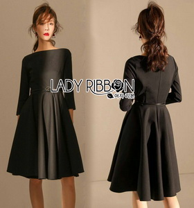 Lady Ribbon Crepe Dress with Black Patent Belt