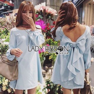 Lady Ribbon Online ขายส่งเสื้อผ้าออนไลน์ Lady Ribbon LR01040816 &#x1F380 Lady Ribbon's Made &#x1F380 Lady Mila Sweet Minimal Back-Ribbon Baby Blue Dress