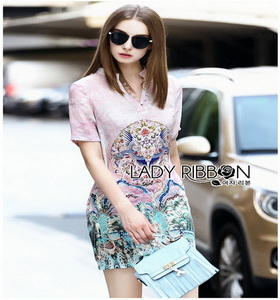 Chinese Style Printed Shirt Dress Lady เชิ้ตเดรส
