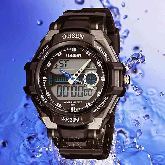 OHSEN – AD1302-1: Dual System Alarm / Chronograph Sports Watch