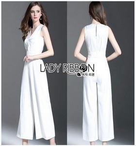 Lady Ribbon Penelope Minimal Elegant Plain Jumpsuit ขายส่งจั้มสูท