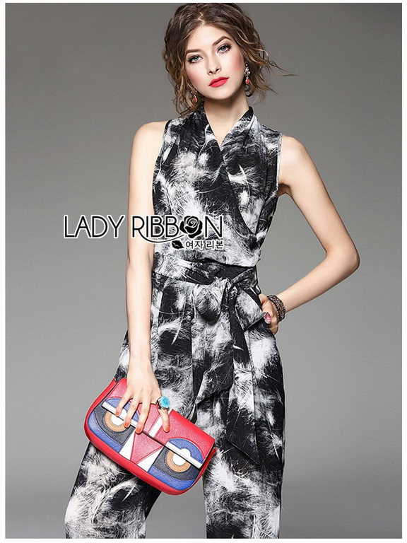 Printed Ribbon Jumpsuit Lady Ribbon ขายจัมป์สูท