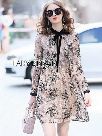 Lady Leslie Printed Velvet Ribbon Mini Dress
