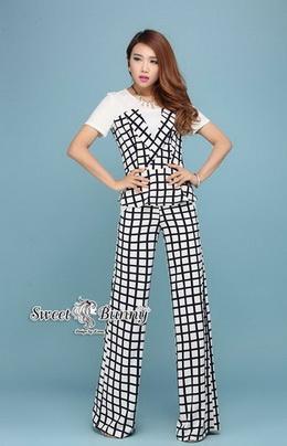 เสื้อ+กางเกงลายตารางสีขาว-น้ำเงิน