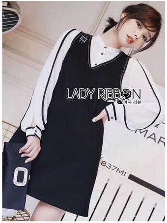 Lady Ribbon Shirt and Black Dress