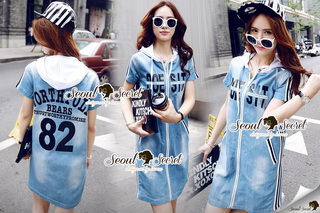 SS11010916 Seoul Secret Say's... Sporty Hoody Stripe Line Set Material : เดรสยีนส์เก๋ๆ ชิคๆ