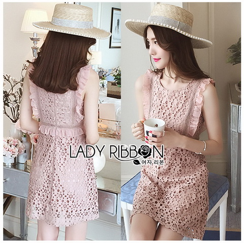 Mini Dress มินิเดรสสั้นผ้าลูกไม้สีชมพูอ่อน