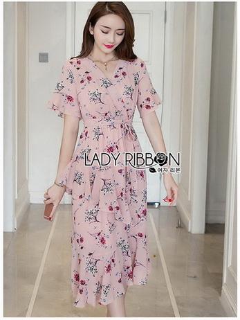 Lady Ribbon Zig-Zag Crepe Dress