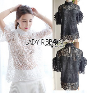 Lady Ribbon Lady bella Modern Vintage Lace Blouse
