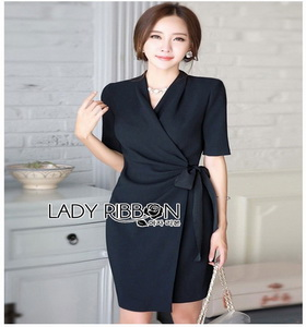 Lady Mandy Smart Minimal Drape Ribbon Black Dress ขายส่งเดรสผ้าเครป