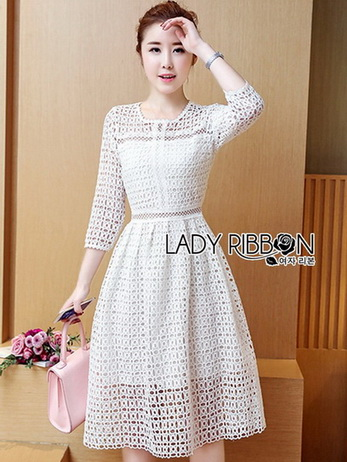 Lady Minimal Dot Embroidered Lace Dress