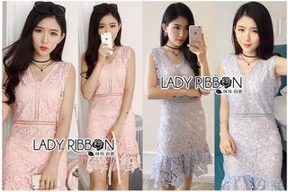 Lady Ribbon Online ขายส่งเสื้อผ้าออนไลน์เลดี้ริบบอน LR15010816 &#x1F380 Lady Ribbon's Made &#x1F380 Lady Josephine Pastel Guipure Lace Cocktail Mini Dress