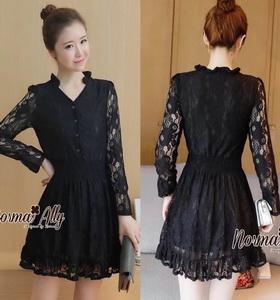 เสื้อผ้าสวยๆมีซับใน สินค้าแฟชั่นลูกไม้ชุดดำ