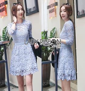 Lady Ribbon Lace Dress in Light Blue