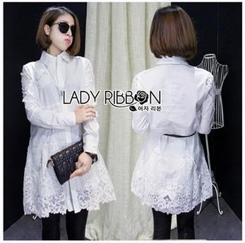 Shirt Dress Lady Ribbon เชิ้ตเดรสขาว