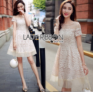 LR13290816 &#x1F380 Lady Ribbon's Made &#x1F380 Lady Catherine Classic Feminine Off-White Lace and Organza Dress เดรสผ้าลูกไม้ตกแต่ง