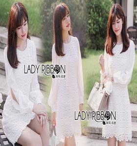 White Lady ribbon Lace and Chiffon Dress เดรสผ้าลูกไม้
