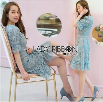 Vivid Blue Lace Dress เดรสสั้นผ้าลูกไม้สีฟ้าสด