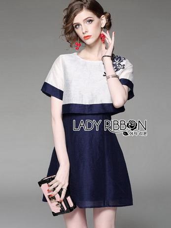 White Silk Cotton Dress Lady Ribbon เดรสผ้าซิลค์
