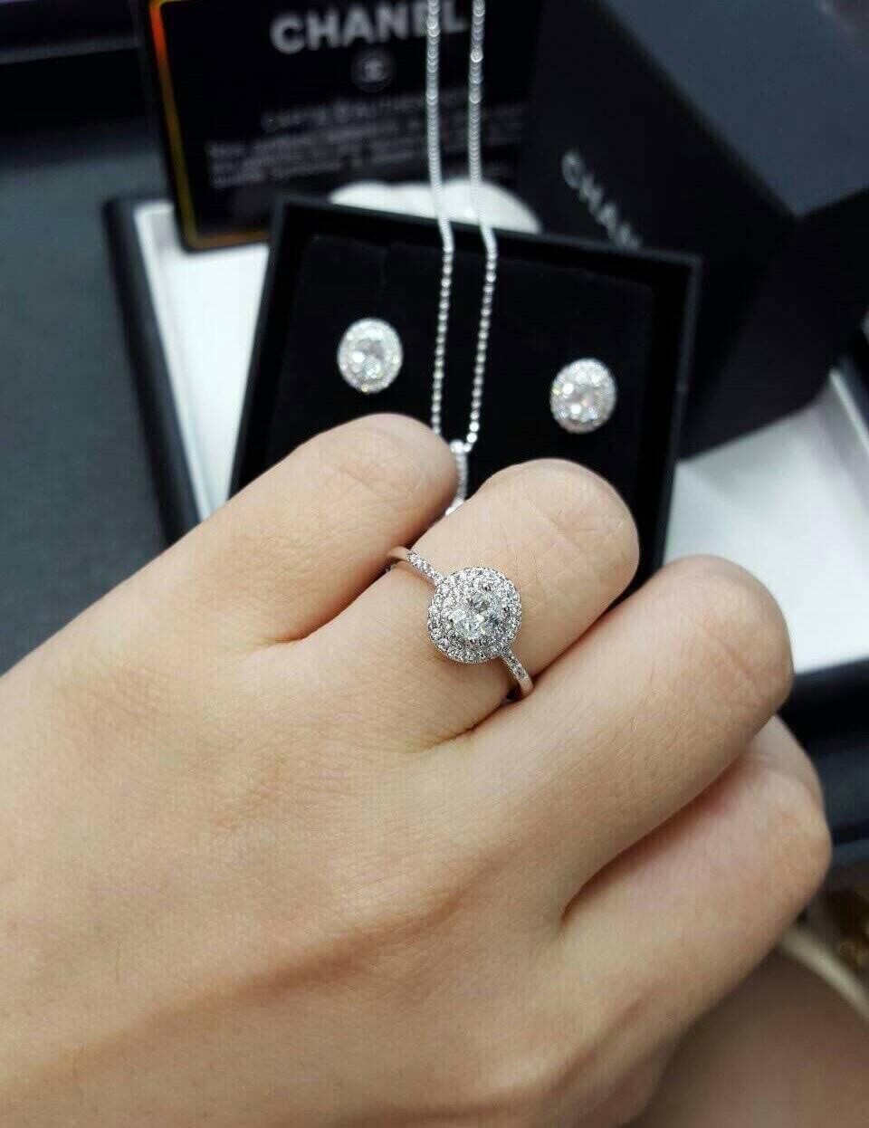 เซตต่างหู+สร้อย+จี้+แหวน งานเพชร CZ แท้ ของจริงสวยมั๊กๆเลย เพชรเล่นไฟดีมากๆ