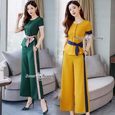 เซ็ทเสื้อ+ผ้าริบบิ้น+กางเกงงานเกาหลีผ้าสีพื้น