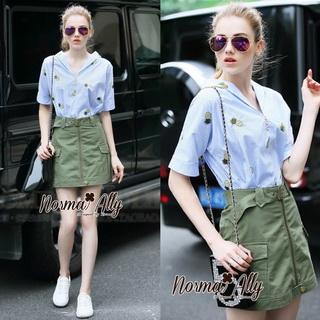 Lady Ribbon Online ขายส่งเสื้อผ้าแฟชั่นออนไลน์ เสื้อผ้า Normal Ally NA10080816 &#x1F389Normal Ally Present Pineapple print shirt striped and army tone skirt set&#x1F389