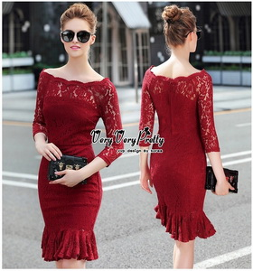 Red Lace Dress เดรสแฟชั่นผ้าลูกไม้ทั้งตัว