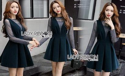 Lady Ribbon Danielle Green Pleated Set Dress