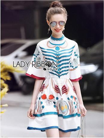 Printed Ruffle-Sleeve Dress เดรสผ้าเครป