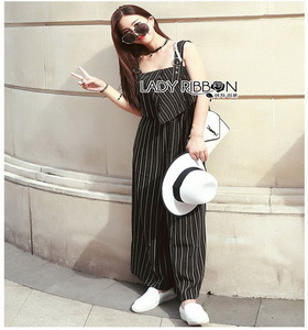 Gabby Striped Geometric Jumpsuit Lady Ribbon จัมป์สูทลายทาง