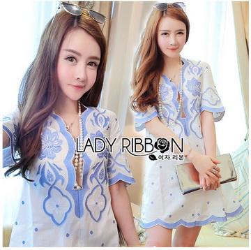 Lady Ribbon Online ขายส่งเสื้อผ้าออนไลน์ ขายส่งของแท้พร้อมส่ง Lady Ribbon LR12250716 &#x1F380 Lady Ribbon's Made &#x1F380 Lady Rachel Summery Classic Blue and White Embroidered Dress