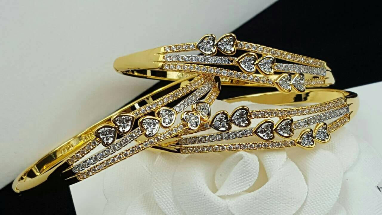 Diamond Bracelet กำไลเพชร CZ แท้ ดีไซส์เรียบหรูดูดี ตัวเรือนสีทองเหมือนของแท้ งานชุบ 18KGP ไม่ลอกไม่ดำ