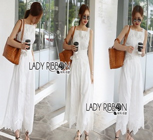 Lady Ribbon Lace Jumpsuit with Ribbon
