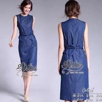 ST04310716 &#x1F340สินค้าพร้อมส่ง&#x1F340 한국에 의해 설계된 2sister made, Blue Jeans Korea Modern Dress