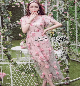Lady Ribbon Pink Rose Embroidered Over Pink Lace Dress